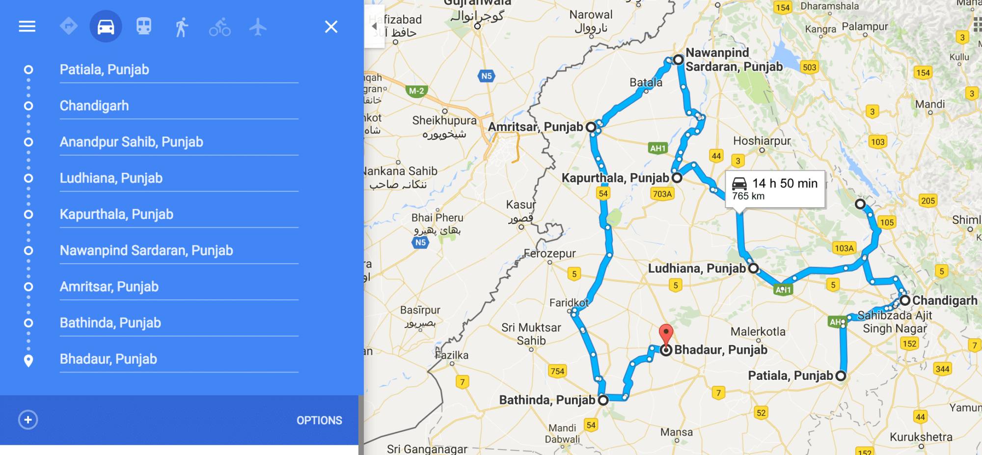 Punjab travel itinerary