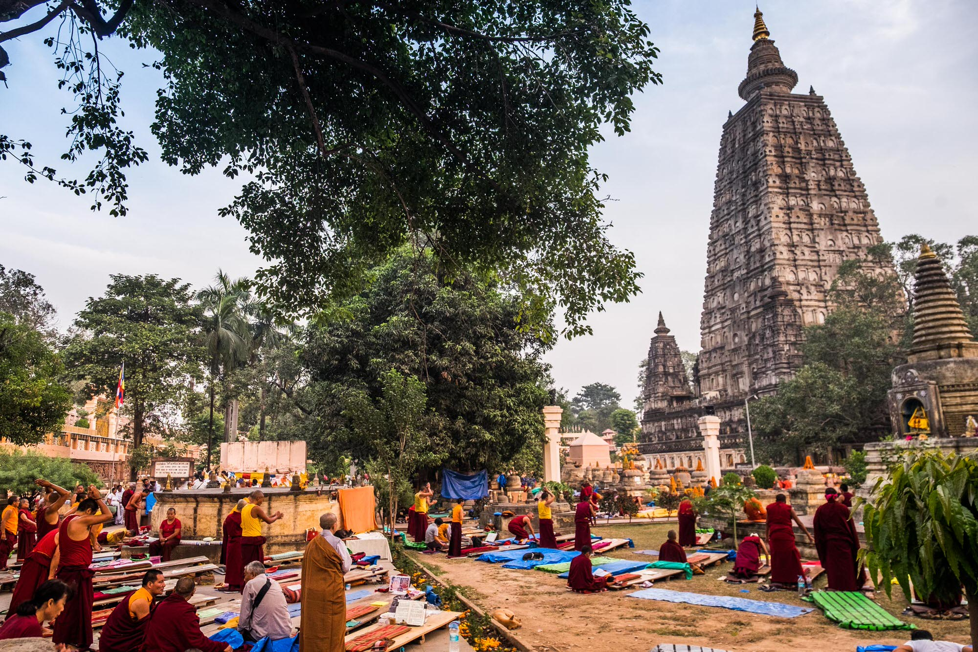Hundreds of monks visit the Mahabodhi temple in Bodhgaya every year