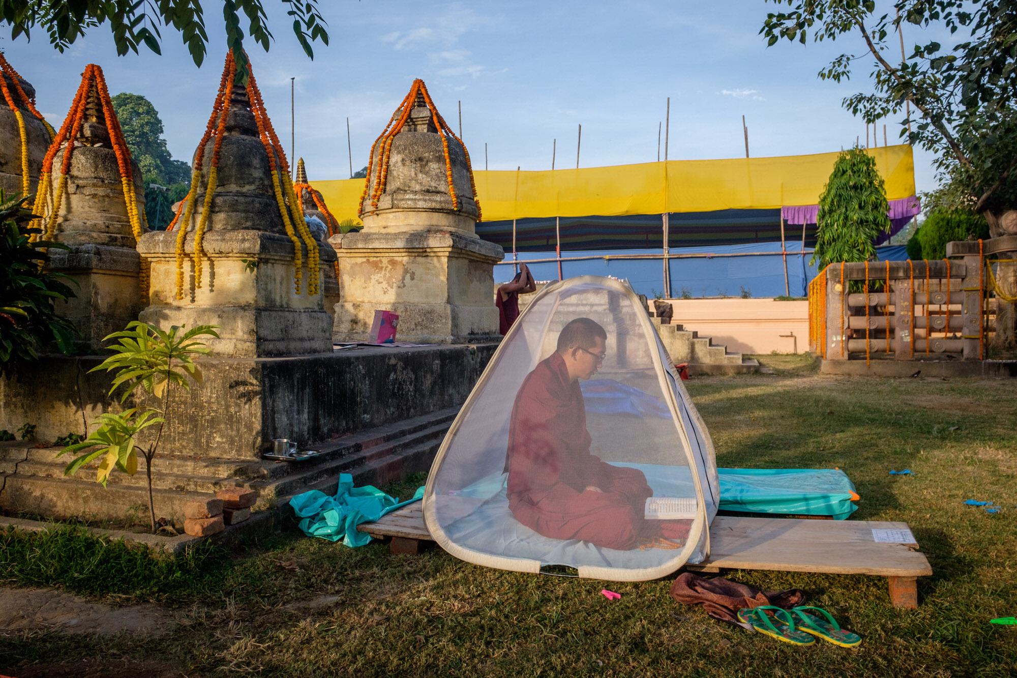 Monk meditating, bodhgaya
